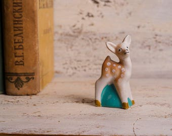 vintage animal decor Deer decor Deer figurine Animal ceramic Animal nursery decor  Vintage porcelain animal turquoise ceramic beige animal