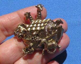 Vintage Noah's Ark Metal Brooch