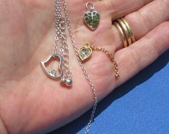 Lot Of Retro Heart Shaped Pendants Charms Rhinestone Necklace