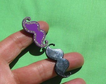 Lot Of Retro Mustache Shaped Purple Black Adjustable Rings