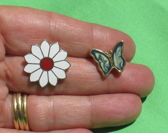 Lot Of Retro Flower & Butterfly Pins One Missing Back