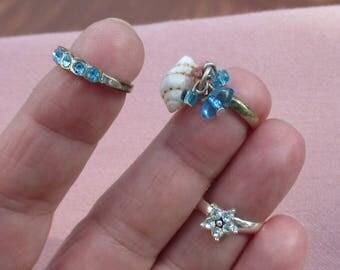Lot Of Retro Assorted Toe Rings Rhinestones Beads Seashell TLC