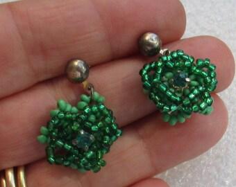 Vintage Green Flower Shaped Beaded Green Rhinestone Dangling Pierced Earrings