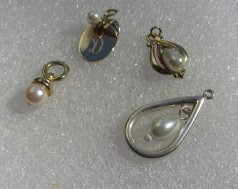 Lot Of Faux Pearl Pendants One Engraved Initial D