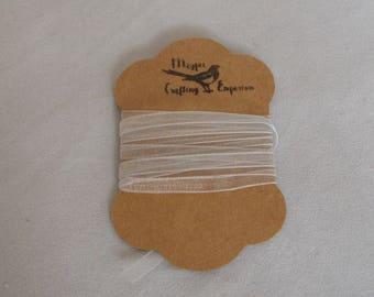 "Silver Grey Organza Ribbon on Cute Kraft Card Bobbin, 3mm  (3/32"") wide - sold by the meter (39"")"
