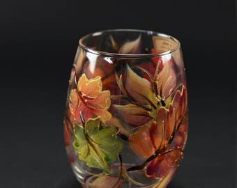 Hand Painted Large Stemless Wine Glass / Colorful Fall Leaves On Clear Glass