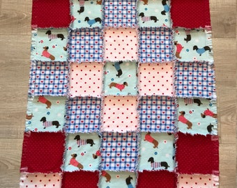 Dachshund flannel quilt, Flannel fabric Dachshund doxie, dog blanket, dog crate, baby quilt, nursery crib, shower gift, 10% of PP to charity