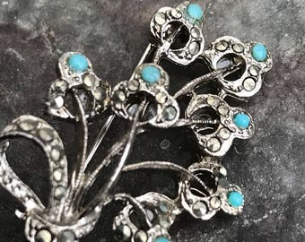 Vintage marcasite and turquoise coloured stone brooch
