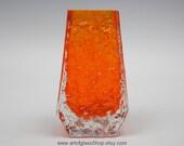 Whitefriars 9686 tangerine 'Coffin' glass vase by Geoffrey Baxter