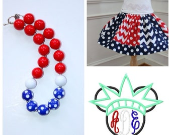 4th of July Minnie outfit Girls Disney  Minnie Mouse skirt set with matching necklace Minnie statue of liberty size 2t 3t 4t 5 6 8 10 girls