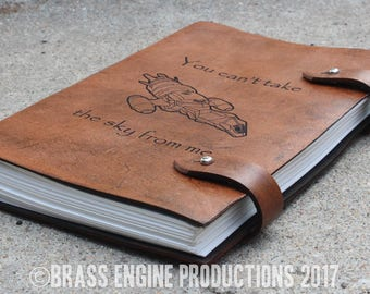 Firefly Sketch Journal 6x9 - 120 pages - Hand Bound - Laser Etched - Briar Brown - Serenity