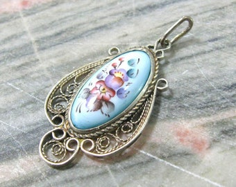 Bridal jewelry Blue flower pendant necklace Finift enamel vintage wedding jewelry something blue bridesmaids gift memory gift for sister