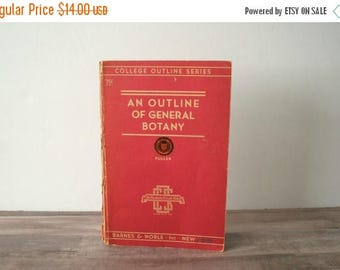 SALE An Outline of General Botany 1941, College Outline Series, Illustrated College Textbook, Vintage Botanical Textbook, Henry J. Fuller