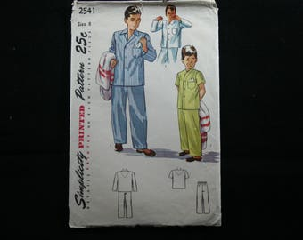Simplicity Printed Pattern #2541, Boys Pajamas, Vintage Pattern, Sewing, Notions, Fabric, 1950, A-425