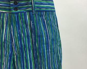 Vintage 70s Mens Bell Bottoms / 1970s striped Printed Corduroy Hip Huggers / Mens Stripe BellBottom Pants / size 34 waist