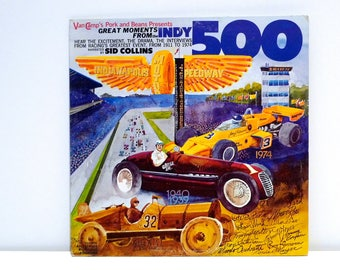 Indy 500 Vinyl Record Vintage Great Moments Indianapolis Motor Speedway 1911 to 1974 Sid Collins Al Unser Mario Andretti Race Car Driver