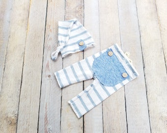 RTS - Newborn Upcycle Blue Outfit Hat and Pant Set with Bum Flap Photo Prop - Ready to Ship