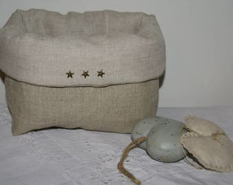 Linen 3 quilted fabric storage basket, organizer, stars
