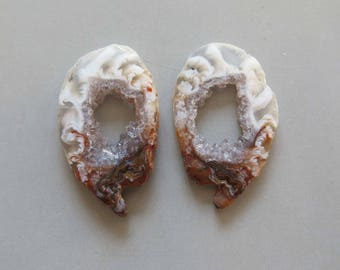A Pair Natural Druzy Agate Geode Slices C5178