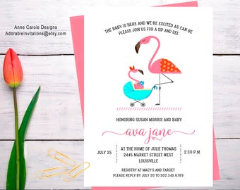 Flamingo Sip and See Invitation   Girl Sip and See Invitation   Girl Baby Shower Invitation   Baby Carriage   Invitation   Printable