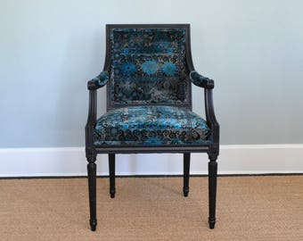Chair Neoclassical French Louis XVI Bohemian Velvet Upholstered