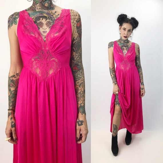 Hot Pink Lace Cut Out Slip Dress Small - Vintage Lightweight Lingerie Layer Maxi Sexy Lingerie Lace Cut Out Romantic Valentines Slipdress