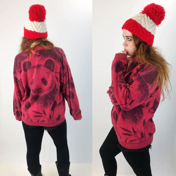 Vintage Panda Bear Red & Black All Over Print Pullover Sweatshirt Adult Large - 80's Fuzzy Textured Cozy Cute Wildlife Panda Print Kawaii