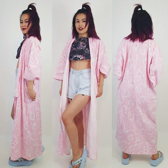 Vintage Pink Cherry Blossom Kimono - Traditional Jacket Long Medium Large Kimono Jacket