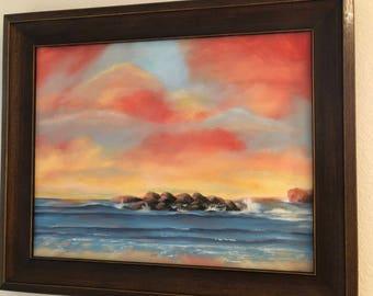 """Original Acrylic Painting """"Orange Sky"""" by Cecily Emond"""