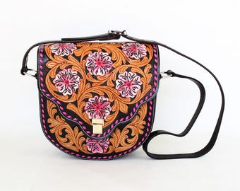 Custom Leather Western Style Fully Tooled Pink Floral Buck Stitched Ladies Handbag Purse