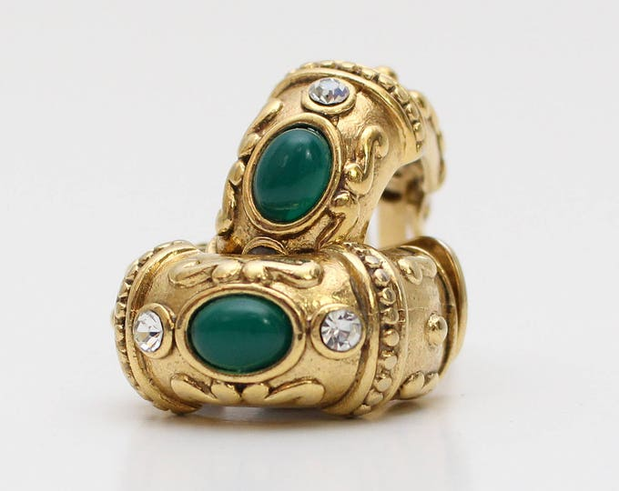 Vendome Chunky Gold Statement Earrings - Vintage 1970s Clip On Hoop Earrings