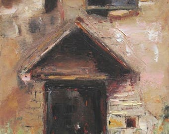 Back Door, oil Painting One of a kind Hand painted Artwork Impressionism Signed with Certificate of Authenticity