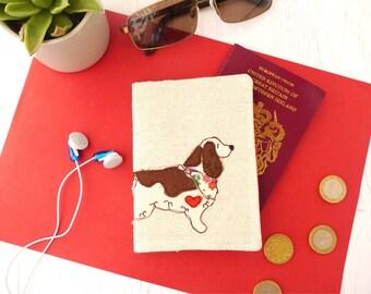 Springer Spaniel passport cover - Springer Spaniel gift - embroidered fabric passport holder - gift for her - Travel Accessories - Spaniel