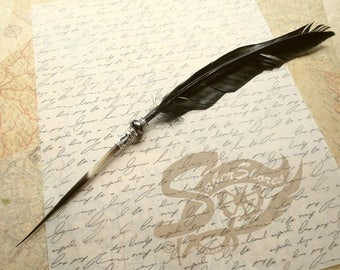 On SALE: Quill Pen Raven's Wing Ink Dip Porcupine Quill Feather Pen and Hematite STEAMPUNK