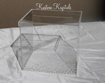 Swarovski Crystal embellished Card Box. Gradient Design.
