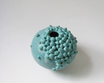 turquoise ceramic vase / nature inspied clay vessel / bubble vase by Echo of Nature , Yumiko Goto