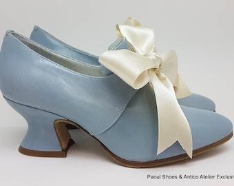 18 century shoes - SKY BLUE 3552- 730_70P-  Marie Antoinette shoes - 18 th.- scarpa settecento donna pastel pink 3093