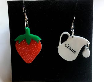 summer statement 'STRAWBERRY & CREAM acrylic earrings
