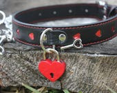 Bondage Collar with Leash PU Leather Collar BDSM Collar Fetish Slave Collar - Red Heart Lock (Mature)
