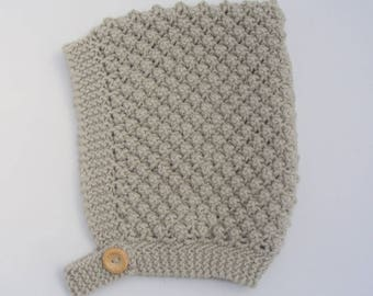 Merino Wool Bobble Knit Pixie Hat in Beige - Size 3-6 months