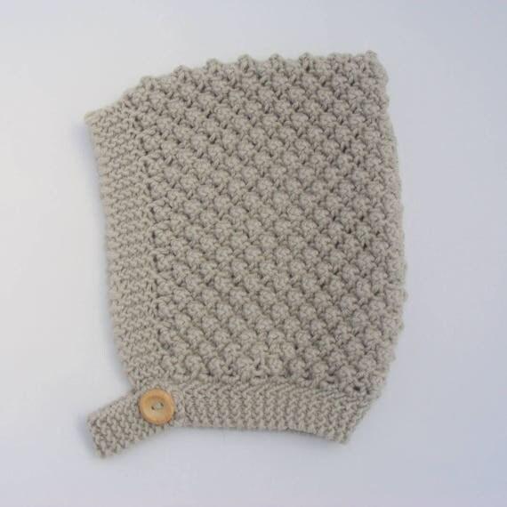 Merino Wool Bobble Knit Pixie Hat in Beige - Size 3-6 months