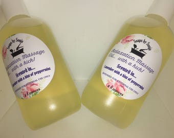 Relaxation massage oil, lavender peppermint scented, for him and her, massage oil, sensuously wonderful