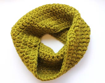 Lime Green infinity scarf, green cowl scarf, green crochet scarf, green wool scarf, green knit scar, crochet scarf, knit scarf, winter scarf