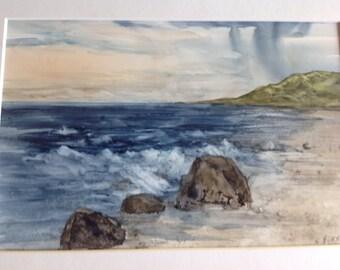 Hawaiian beach scene, storm, original watercolor on yupo paper