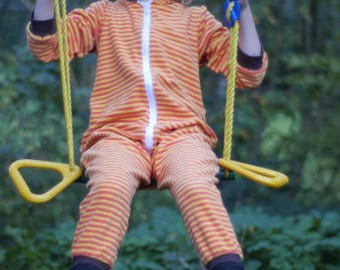 Stripes terry suit yellow-orange jumpsuit beach eco