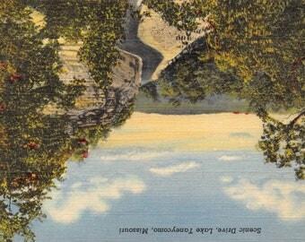Vintage 1920's Postcard Scenic Drive, Lake Taneycomo, Missouri Unused