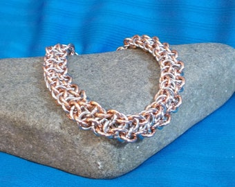 Copper and Stainless Steel Vipera Berus Bracelet Chain Maille