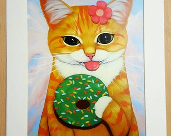 Girl Kitty, Green Donut print+mat+signature