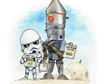IG-88 and Stormtrooper Fan Art Watercolor Print