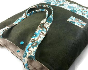 Soft tote bag, handbag, kaki/brown simili used leather + turquoise cotton fabrics.